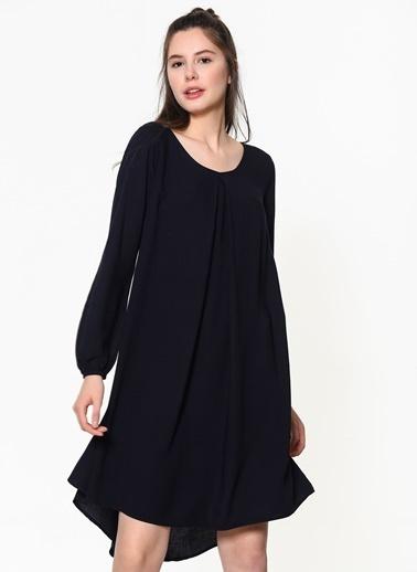 Braez Uzun Kollu Şifon Elbise Lacivert